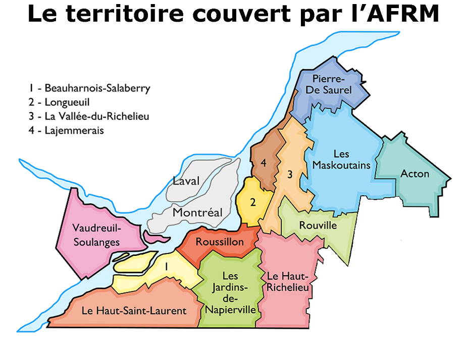 Carte de la Montérégie